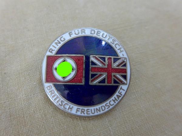 """Original badge """"Ring for German British Friendship"""" on/for needle - Deschler & Sohn"""