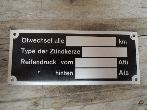 Vehicle plate Type plate