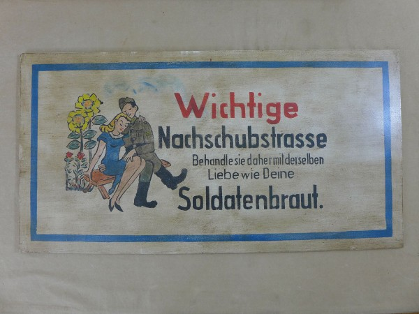 WEHRMACHT WW2 VINTAGE SIGN SCHILD HOLZSCHILD soldier bride ... supply road