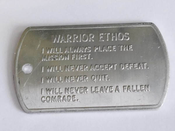 US Army Values and Warrior Ethos Tag Dogtag brand