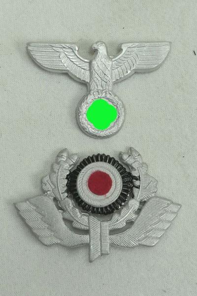 Reichsbahn cap badge aluminium for peaked cap eagle + impeller with cockade