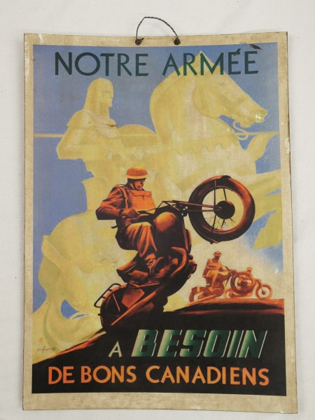 CANDIAN ARMY Notre Army Besoin VINTAGE SIGN SIGN SELF PLAKET CARDBOARD NOSTALGY