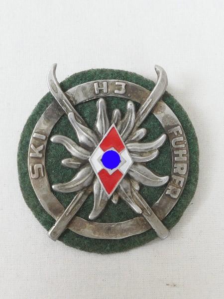 HJ ski guide badge on field grey base Edelweiss (4183)