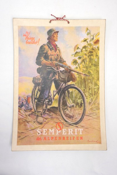 Wehrmacht Vintage Sign Poster Cardboard - Semperit der Alpenreifen - Im Kriege bewährt
