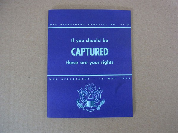 """US Army Brooch """"If you get captured"""" Behavior at capture POW"""