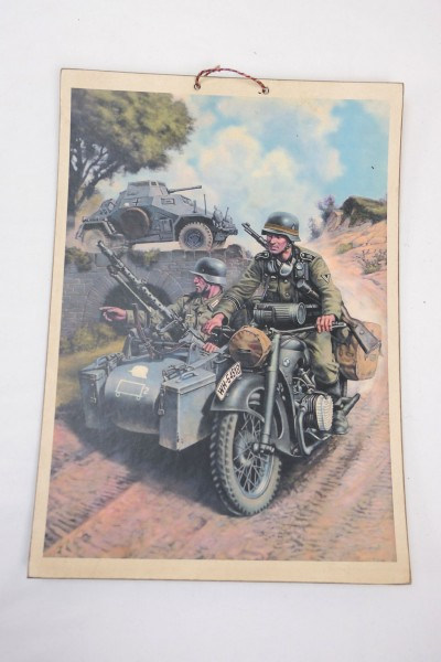 Wehrmacht Vintage Sign Poster Cardboard - Soldiers in a motorcycle with sidecar