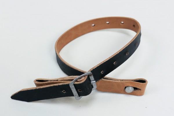 Wehrmacht chinstrap leather black for steel helmet / assault belt leather belt
