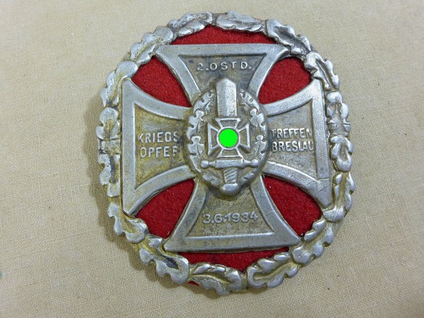 badge plaque shield war victim meeting Breslau 1934