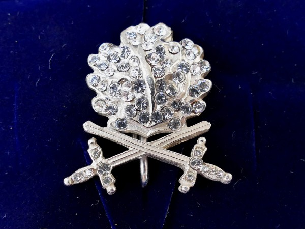 Silver-plated oak leaves with swords and diamonds for the Knight's Cross of the Iron Cross