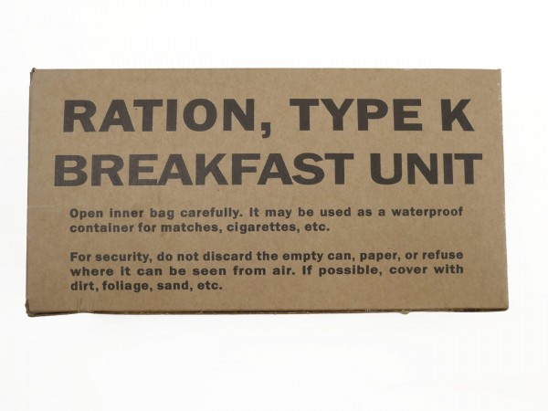 US ARMY WW2 Rations Type K Breakfast Unit / Rations Box Carton Catering