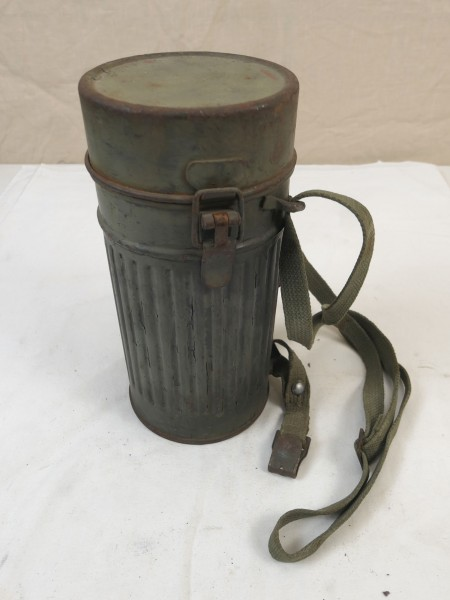 Original Wehrmacht gasmask box Protective mask box with straps