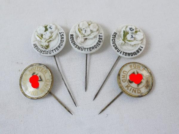 Convolute 5x badge Reichsmütterdienst WHW + Nat.Soz. Volkswohlfahrt NSV Member badge