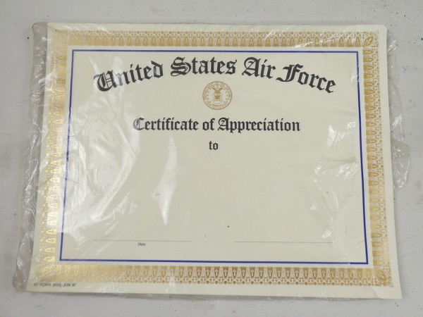 US - 1987 - United States Air Force - Certificates of Appreciation - Certificates 10x