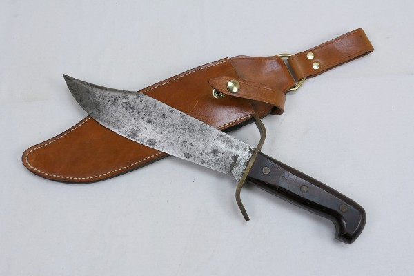 US 60s Western Bowie W49 Knife Survival Knife Vietnam with Sheath Leather