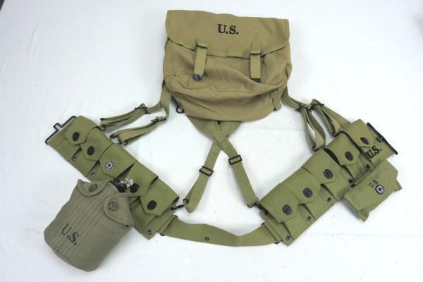 WW2 US Army Assault Pack Equipment Garand M1 Ammo Belt Ammunition Belt Musette Canteen First Aid