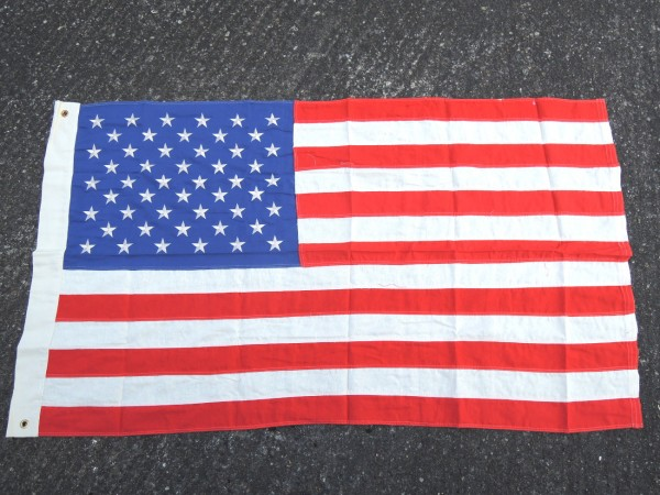 US Vintage Flag 50 stars flag embroidered stars, 93 x 155 cm with metal eyelets to hang