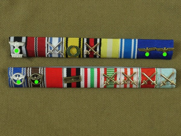 Wehrmacht 2x ribbon clasps 9er with editions / Ribbon / Order clasp Sepp Dietrich