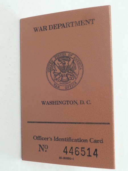 US ARMY WW2 War Department Officer´s Identification Card ID Card
