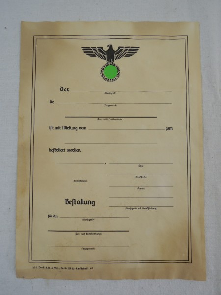 Wehrmacht Certificate of Appointment