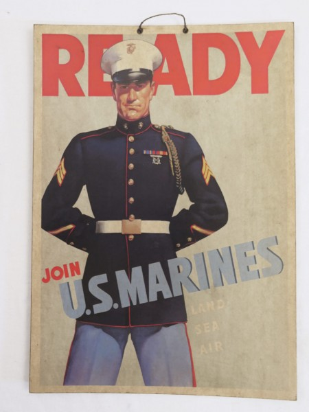 WW2 US Army Join U.S. Marines advertising poster picture made of solid cardboard