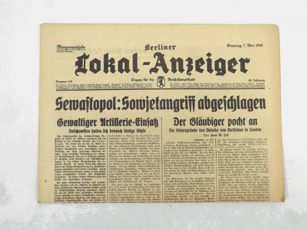 WK2 Complete daily newspaper - Berliner Lokal-Anzeiger 07.May 1944 - morning edition
