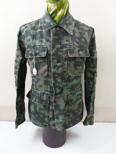 Waffen SS Drillich Four Pocket Tunic Camouflage Jacket Blurred edge Camouflage Spring Vintage Optic Top Museum Reproduction