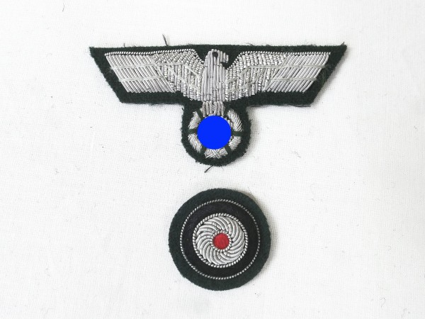 Wehrmacht M36 cap eagle silver thread embroidered + cockade for officer shuttle field cap