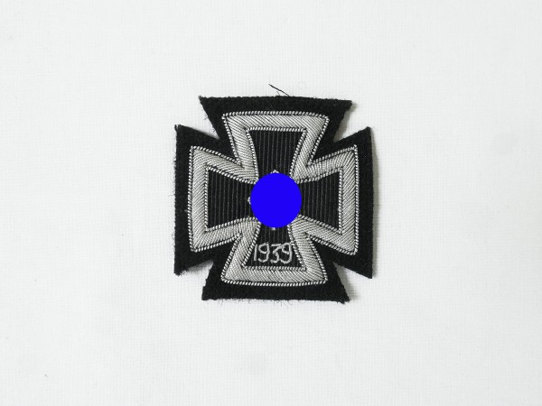 Iron cross 1939 EK1 silver thread embroidered on black cloth