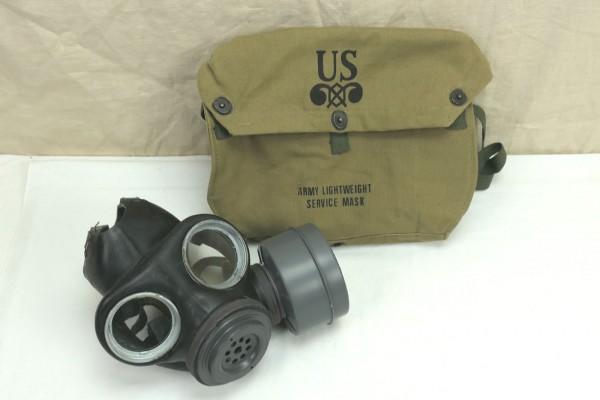 WW2 US ARMY Lightweight Service Mask bag + Original WW2 Gas Mask British Made 1944