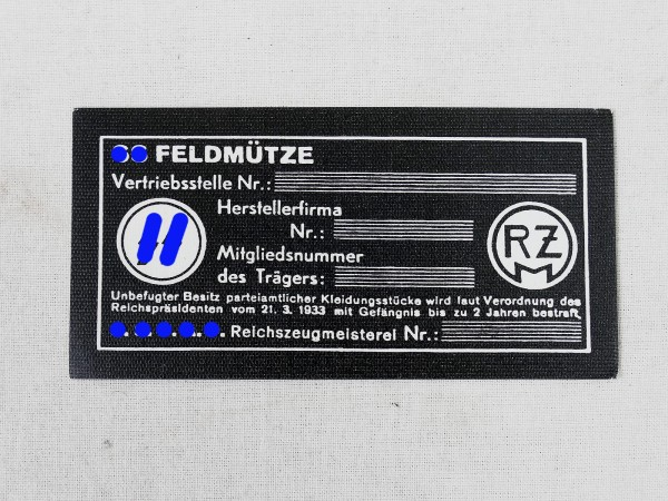 RZM manufacturer's label for the SS field cap label