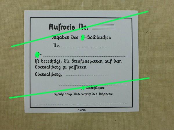 "Pass ""Obersalzberg"" for SS members"