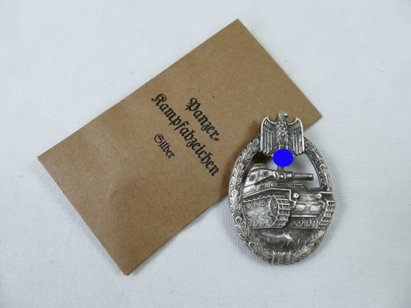 Wehrmacht Panzerkampfabzeichen silver hollow embossed silver plated with award bag