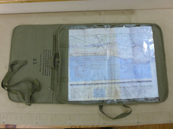 US ARMY WW2 JEEP CANVAS ROLL MAP CASE / ROLL MAP POCKET ROLLER WILLYS FORD GPW